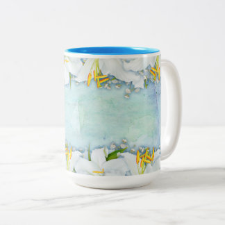 Lilies on Watercolor Background  Coffee Mug