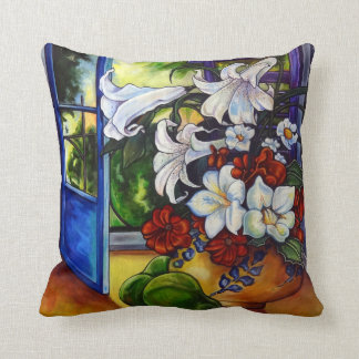 "Lilies & Pears 16"" X 16"" Cotton Pillow"