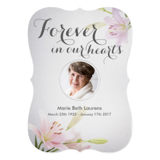 Lilies Sympathy Memorial Thank You Card with Photo