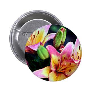 Lilies with Rain 6 Cm Round Badge