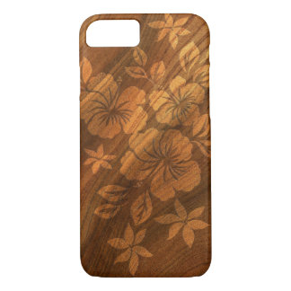 Lilikoi Hibiscus Hawaiian Faux Burl Wood iPhone 8/7 Case