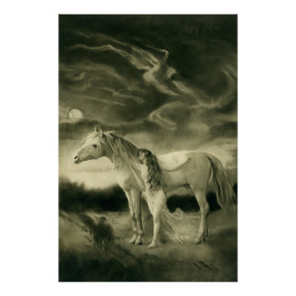 Lilith with white horse poster