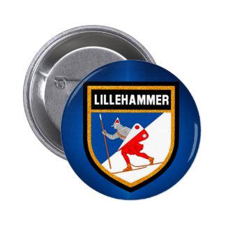 Lillehammer Flag 6 Cm Round Badge