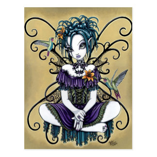 """Lillian"" Gothic Hummingbird Fairy Art Postcard"