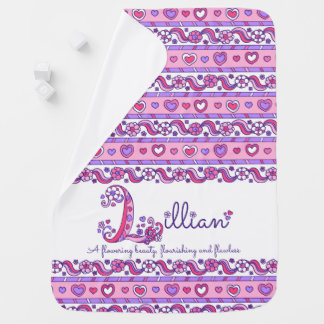 Lillian personalized L name meaning baby blanket