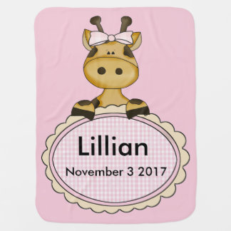 Lillian's Personalized Giraffe Baby Blanket