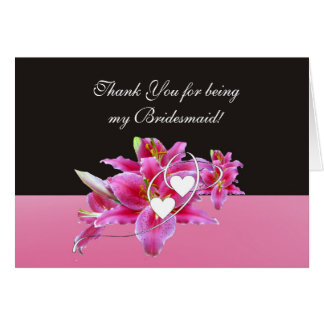 Lillies & Hearts Bridesmaid Note Card
