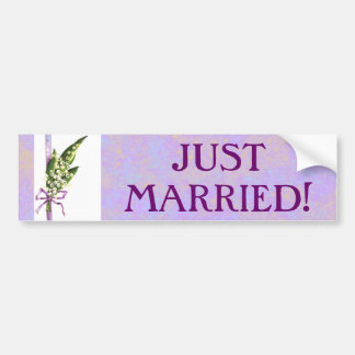Lilly of the Valley JUST MARRIED bumpersticker Bumper Sticker