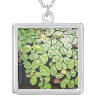 Lilly Pads Square Pendant Necklace
