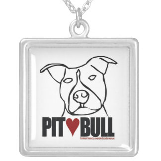 Lilly - Pit Bull Love Square Pendant Necklace