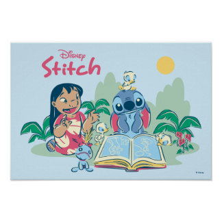 Lilo & Stitch | Reading the Ugly Duckling Poster