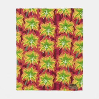 Lily Blossoms Colorful Fleece Blanket - Medium