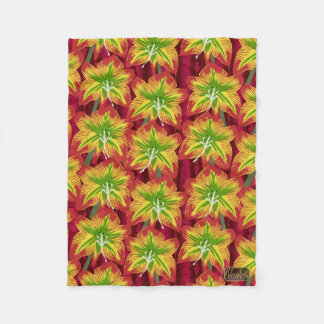 Lily Blossoms Colorful Fleece Blanket - Small