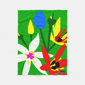 Lily Blossoms Green Fleece Blanket