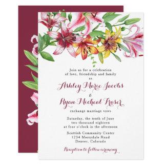 Lily Flower Bouquet Wedding Invitation