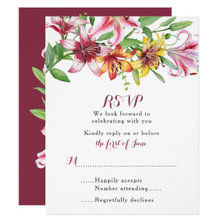 Lily Flower Bouquet Wedding RSVP Card