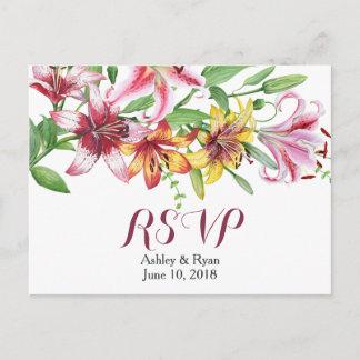 Lily Flower Bouquet Wedding RSVP