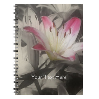 Lily Flower In Black And White Notebook