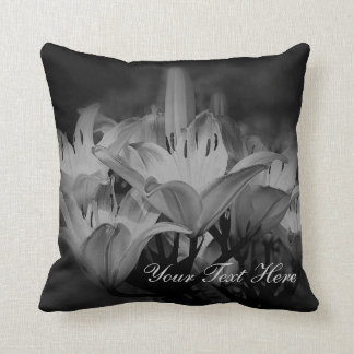 Lily Flowers In Black And White Personalised Cushions