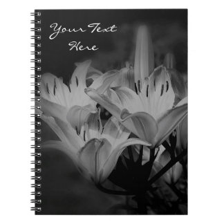 Lily Flowers In Black And White Spiral Note Books
