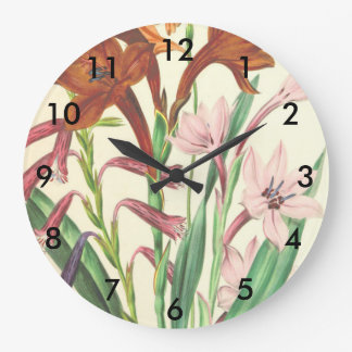Lily flowers large clock