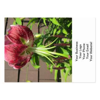 Lily Green Maroon Garden Flower Business Card Template