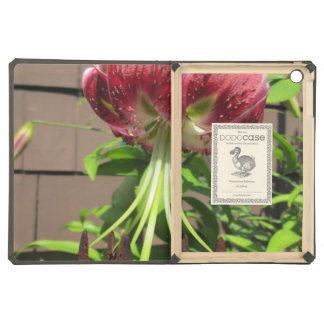 Lily Green Maroon Garden Flower iPad Air Cover