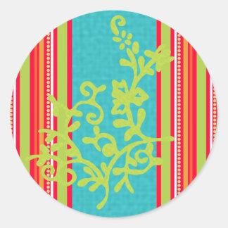 Lily Green N Orange Classic Round Sticker