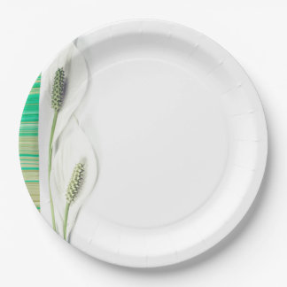 Lily Green & White Wedding Paper Plate