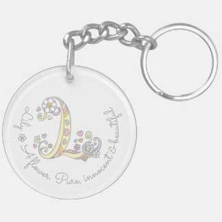 Lily initial L girls name personalized keychain