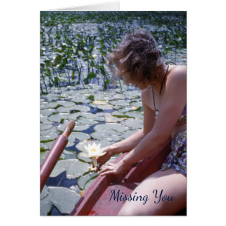 Lily, Lady Picking a Water Lily Pad Flower Card