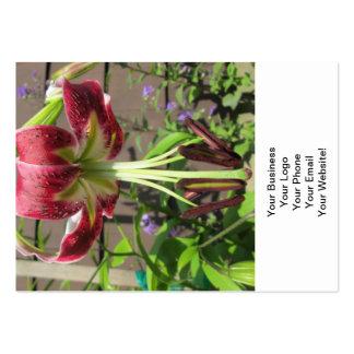 Lily Maroon Green Flower Garden Business Card Templates
