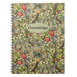 Lily Morris Vintage Floral Personalized Monogram Spiral Notebook
