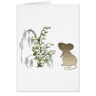 Lily of the Valley and Cute Mouse art Card
