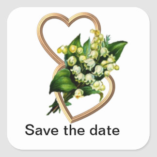 Lily of the Valley and Hearts Save the Date Square Sticker