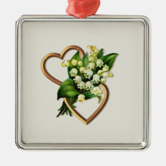 Lily of the Valley and Hearts Silver-Colored Square Decoration