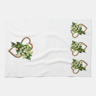 Lily of the Valley and Hearts Tea Towel
