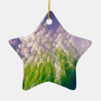 Lily of the Valley Dance in Blue Ceramic Ornament