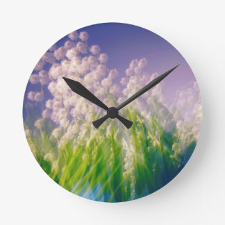 Lily of the Valley Dance in Blue Round Clock