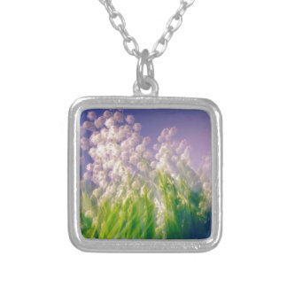 Lily of the Valley Dance in Blue Silver Plated Necklace