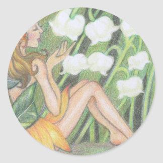 Lily of the valley & fairy classic round sticker
