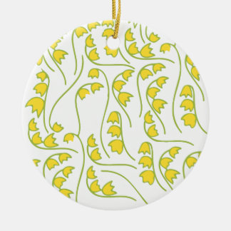 Lily of the Valley Floral Pattern Round Ceramic Decoration