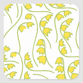 Lily of the Valley Floral Pattern Square Sticker