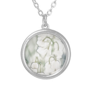 Lily of the Valley Flower Bouquet Silver Plated Necklace