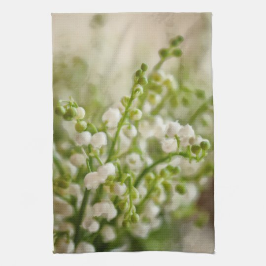 Lily of the Valley Flower Bouquet Sketch Kitchen Towel