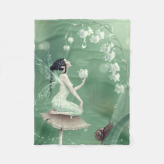 Lily of the Valley Flower Fairy Fleece Blanket