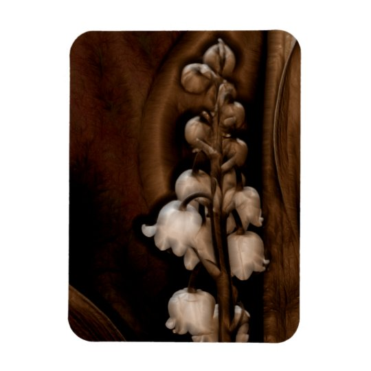 Lily of the Valley Flower in Dark Brown Magnet