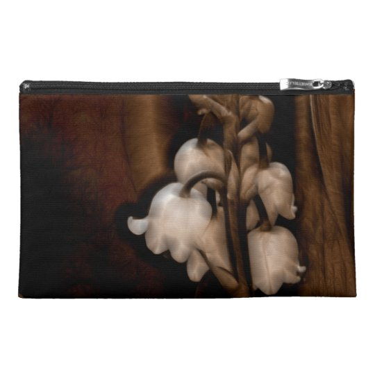 Lily of the Valley Flower in Dark Brown Travel Accessory Bag