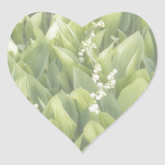 Lily of the Valley Flower Patch in Fog Heart Sticker