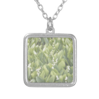 Lily of the Valley Flower Patch in Fog Silver Plated Necklace